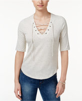 American Rag Three-Quarter-Sleeve Lace-Up Top, Only at Macy's