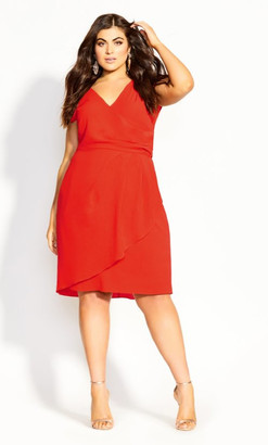 City Chic Classic Wrap Dress - sunkist
