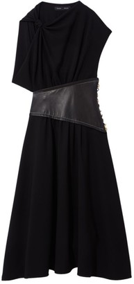 Proenza Schouler Asymmetric Sleeve Belted Crepe Dress