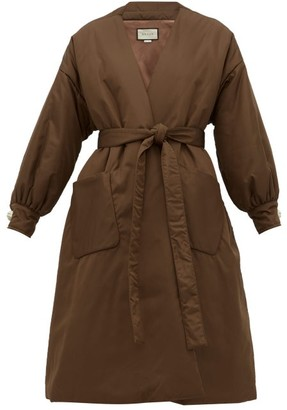 Gucci Belted Padded Silk-satin Coat - Womens - Brown