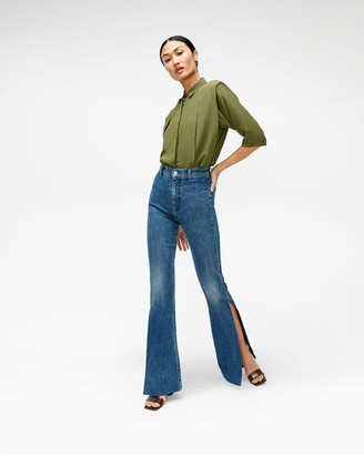 7 For All Mankind High Slit Flare Jean in Retro Broadway