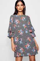boohoo Annie Floral Check Volume Sleeve Shift Dress