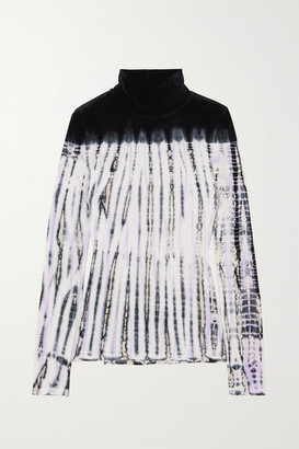 Proenza Schouler Tie-dyed Velvet Turtleneck Top - Navy