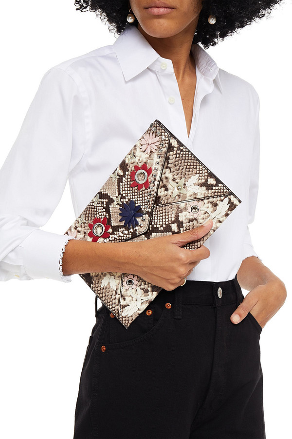 Thumbnail for your product : Rebecca Minkoff Leo Embellished Snake-effect Leather Clutch