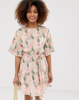 Gilli floral mini dress with ruffle sleeves