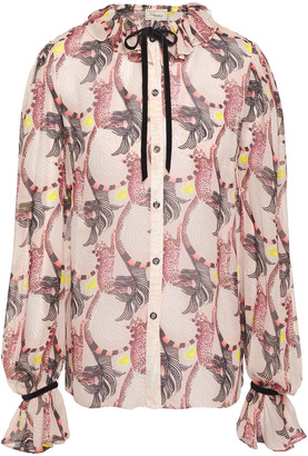 Temperley London Maggie Bow-detailed Printed Georgette Blouse