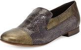 Sesto Meucci Lavena Python-Print Leather Flat, Gray/Green