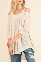 Umgee USA Cream Cold Shoulder Tunic
