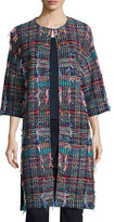 St. John Dara Fringe Knit 3/4-Sleeve Topper Coat, Multi