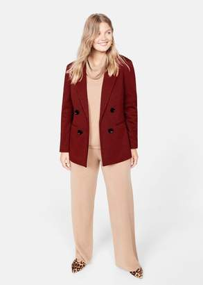 MANGO Violeta BY Double-breasted check blazer red - XS - Plus sizes