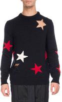 Givenchy Star Cutout & Intarsia Wool Crewneck Sweater