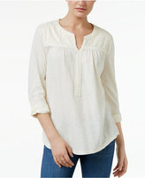 Style&Co. Style & Co Petite Jacquard Split-Neck Top, Only at Macy's