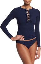 Karla Colletto Solid Lace-Up Long-Sleeve Rashguard, Navy