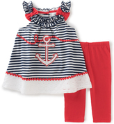 Kids Headquarters Navy Stripe Anchor Tank & Red Leggings - Toddler & Girls