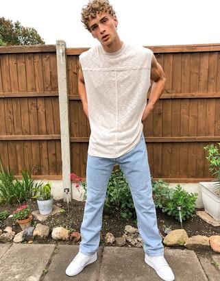 ASOS DESIGN oversized longline sleeveless t-shirt with raw seams in slub jersey