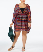 Jessica Simpson Plus Size Printed Open-Back Chiffon Cover-Up