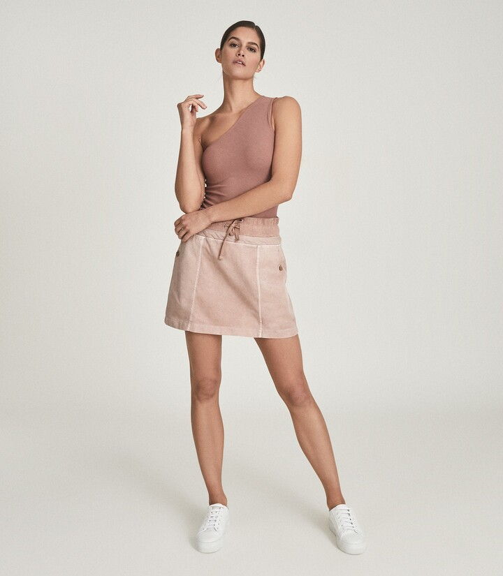 Thumbnail for your product : Reiss Mara - Cotton Blend Jersey Mini Skirt in Blush