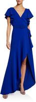 Badgley Mischka V-Neck Flutter-Sleeve High-Low Ruffle Gown