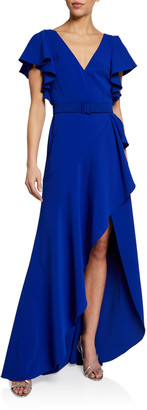 Badgley Mischka V-Neck Flutter-Sleeve High-Low Ruffle Gown