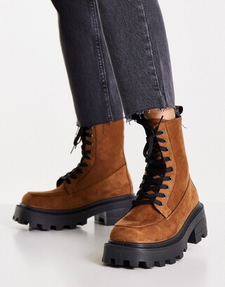 Topshop Kayla suede chunky lace up boots in tan