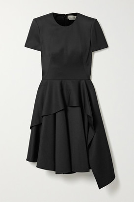 Alexander McQueen Asymmetric Layered Wool-crepe Dress - Black