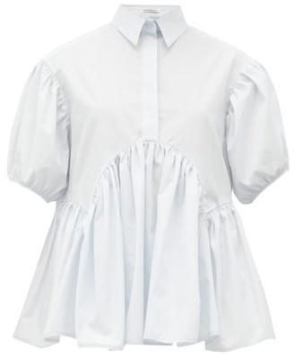 Cecilie Bahnsen Ellie Gathered Cotton-poplin Shirt - Womens - Light Blue