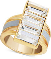 GUESS Gold-Tone Crystal & White Faux Leather Ring