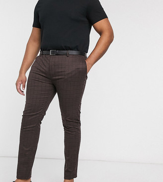 Topman Big & Tall skinny smart pants in brown heritage check