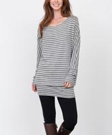 Egs By Eloges egs by eloges Women's Tunics Navy - Gray & Olive Stripe Blouson Tunic - Women & Plus