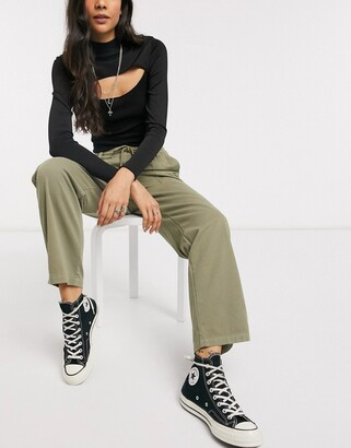 Topshop slouch pants in khaki