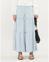 Free People Stargazing tiered flared denim trousers