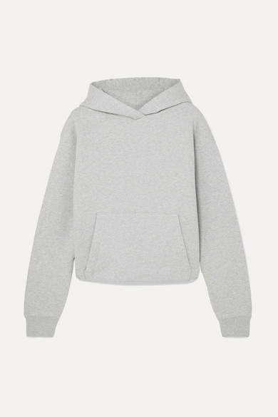 Alexander Wang Cropped Cotton-terry Hoodie - Light gray