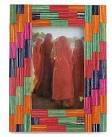 Wood Photo Frame (4x6) Multicolor Handmade India, 'Gujurat Colors'