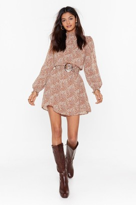 Nasty Gal Womens Give It Your Petal Floral Mini Dress - Beige