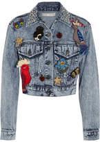 Alice + Olivia Chloe Embellished Denim Jacket - Indigo