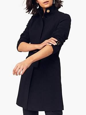 Oasis Funnel Neck Coat, Black