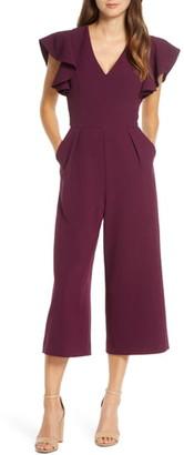 Eliza J Ruffle Sleeve Crepe Jumpsuit