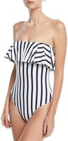 Milly Strapless Ruffle-Top Striped One-Piece Swimsuit