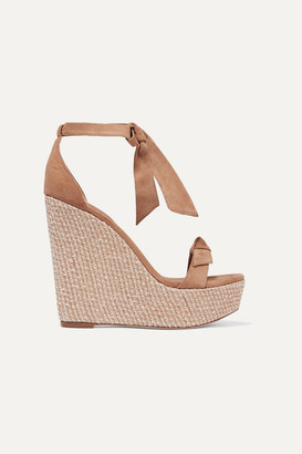 Alexandre Birman Clarita Bow-embellished Suede Wedge Sandals - Beige