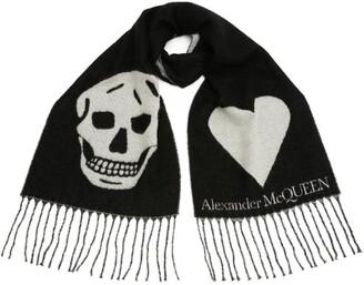 Alexander McQueen Wool-Rich Skull and Heart Scarf
