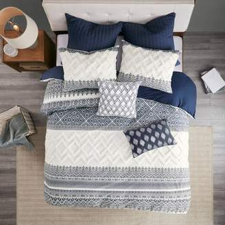 Nobrand No Brand 3pc Mila Cotton Printed Duvet Cover Set with Chenille Navy