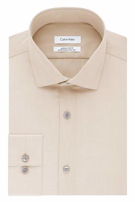 Calvin Klein Men's Dress Shirt Xtreme Slim Fit Non Iron Herringbone