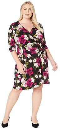 Calvin Klein Plus Plus Size Wrap Dress with Hardware (Black/Blush) Women's Dress