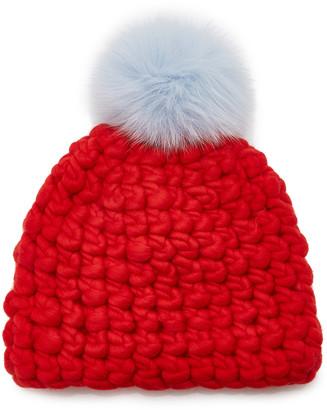 Mischa Lampert Solid Fur Pom-Pom Wool Beanie