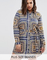 AX Paris Plus Shirt Dress In Scarf Print
