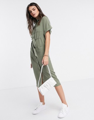 ASOS DESIGN utility midi shirt dress with drawstring waist in khaki