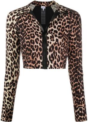 Ganni Leopard-Print Swimwear Top