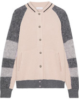 Brunello Cucinelli Ribbed Cashmere And Mohair-blend Bomber Jacket - Blush