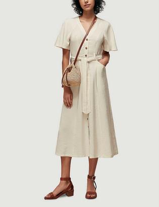 Whistles Anita belted woven midi dress