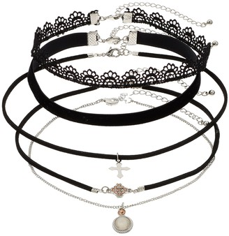 SO Silver Tone Charm & Lace Choker Necklace Set